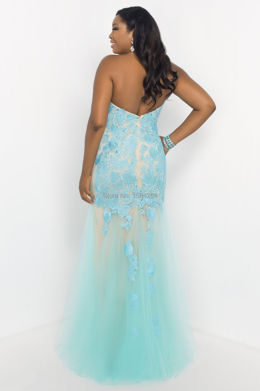 Ice Blue Mermaid Plus Size Prom Dresses With Appliques Beaded Sexy ...