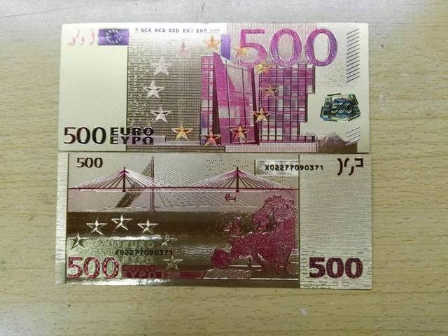 24 Karat Goldfolie Banknote 500 Euro Doppelseitige Farbdruck Bill