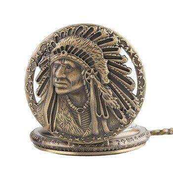 Retro Antique Old Man Portrait Design Face Quartz Pocket Watch Normal 80cm Necklace Chain Watches Clock Best Gifts Collectibles