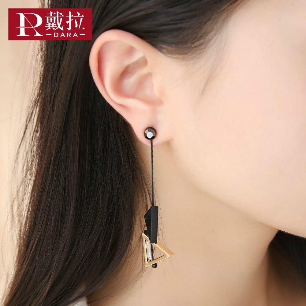 DARA 2017 New Women Fashion Triangle Drop Earrings All-match Cute Gold Filled Earrings Wedding Jewelry In Gift Box High Quality