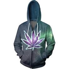 Weed Galaxy Raum Zip-UP Hoodies Frauen Männer Unisex 3D Print Sweatshirts Hoody Outfits Jumper Mode Kleidung