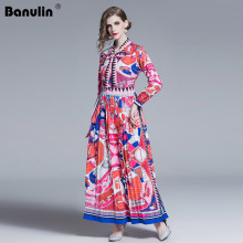 Banulin 2019 Spring Autumn Womens Bow Neck Long Sleeves Contrast Geometric Print Striped Pleated Maxi Runway Dresses