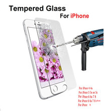 9H Protector glass for iphone 6 7 screen protective on tempered glass if film case caver on for iphone 5 6 S 7 8 4 4s X SE plus(China)