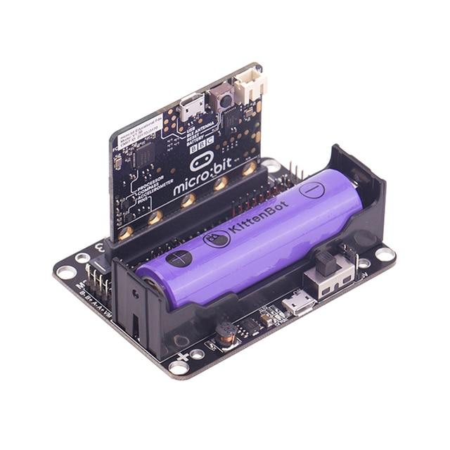 Micro: placa de expansión de bits Compatible con enchufe Compatible con Scratch Python programación introducción con batería de litio 18650