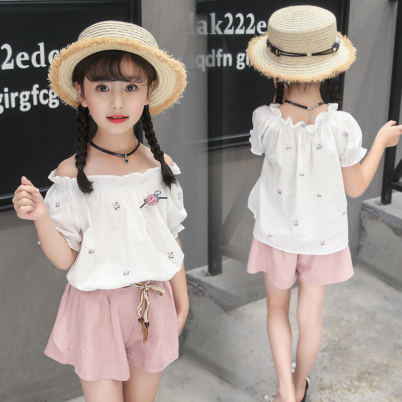 girls summer clothing 2018 new children sport suit top short sleeve floral printed tshirt+shorts 2pcs girls clothes sets 4-13T 2017 new summer girl clothing sets baby girl cotton printed top s floral printed shorts girls clothes suits children sets d40