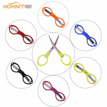 1 PC Mini Folding Scissors Portable Travel Fishing Scissor Keychain Camping Cutter Random Color