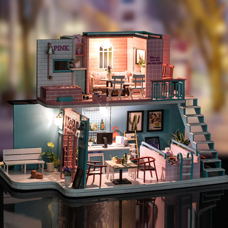 Handmade Pink Cafe Dollhouse Furniture Diy Miniature 3D Wooden Miniaturas Dollhouse Toys for Girls Birthday Gifts wooden handmade dollhouse miniature diy kit caravan