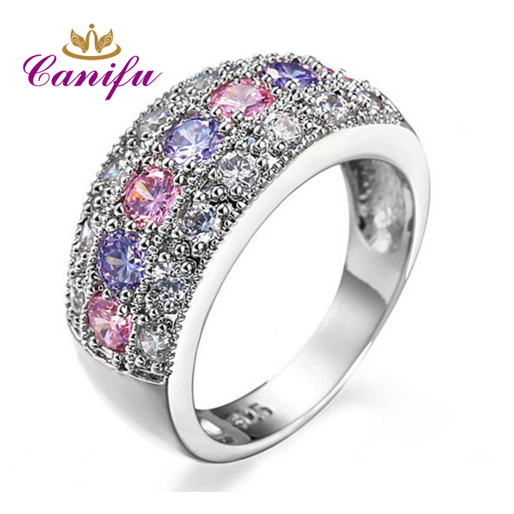 Canifu New arrival Unique Design Bohemian Ring With Multi Color Cubic Zirconia AAA Noble Party Jewelry for Women
