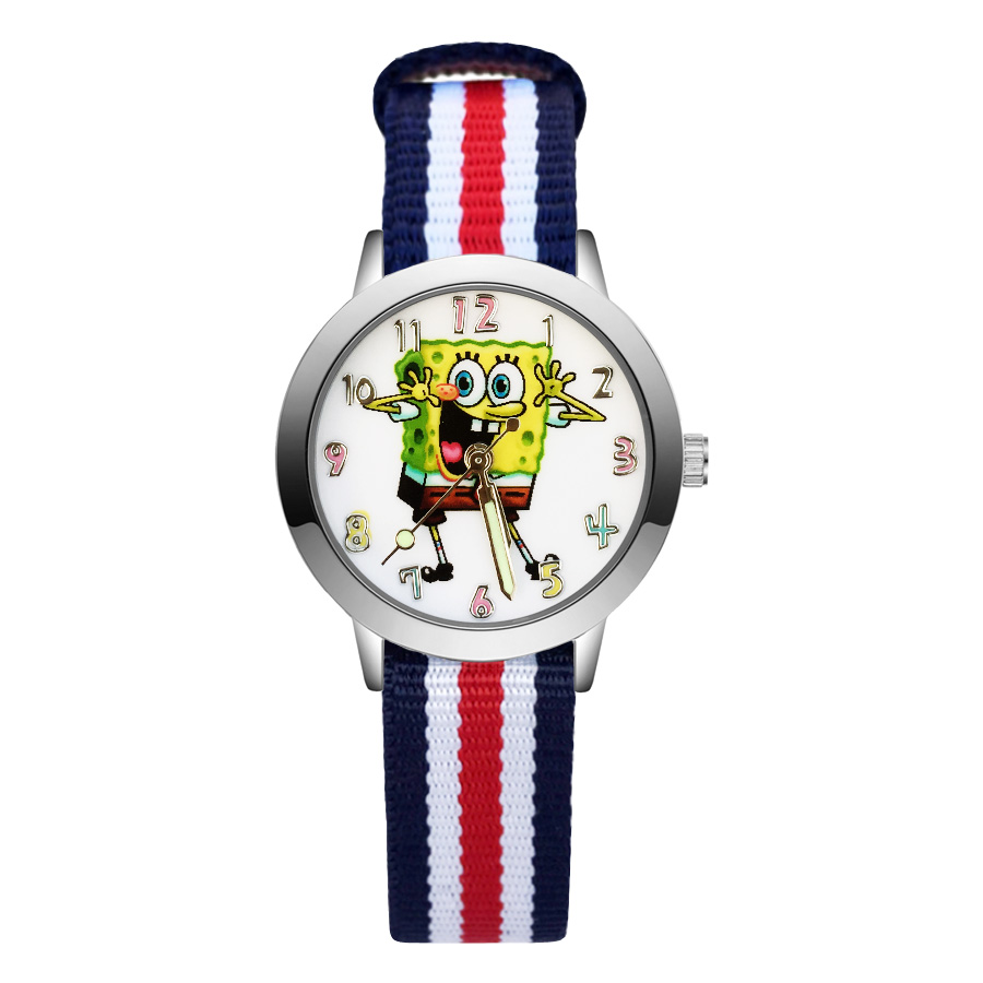 Fashion Cute SpongeBob style Children's Watches Kids Student Girls Boys Quartz Nylon strap Wrist Watch JA137