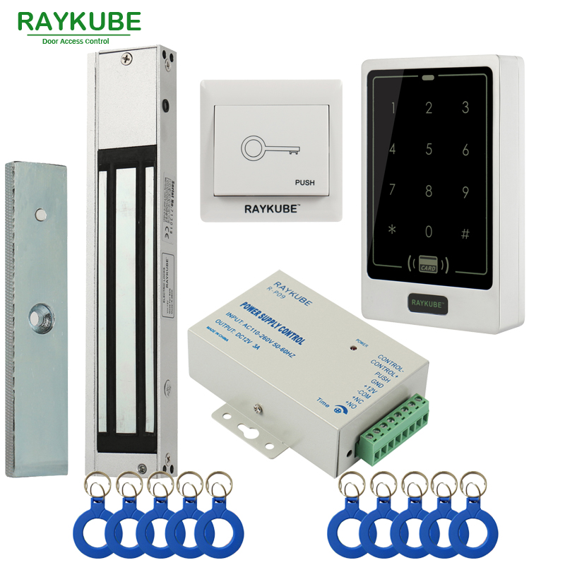 RAYKUBE Door Access Control System Kit 180KG/280KG Electric Magnetic Lock + Metal Touch FRID Keypad Exit Button Security Door raykube door access control kit set electric bolt lock touch metal frid reader for office glass door