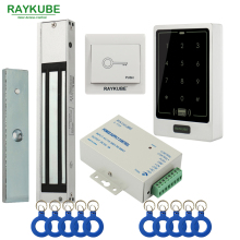 RAYKUBE Door Access Control System Kit 180KG/280KG Electric Magnetic Lock + Metal Touch FRID Keypad Exit Button Security Door