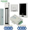 RAYKUBE Porta Kit Sistema de Controle de Acesso 180 KG/280 KG Elétrica Fechadura Magnética + Metal Toque FRID Teclado Saída botão de Porta de Segurança