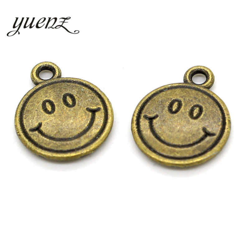YuenZ 15 pcs 3 color Antique Silver Plated Smiley face Charms Pendant DIY Handmade Jewelry Accessories 16*13mm I102