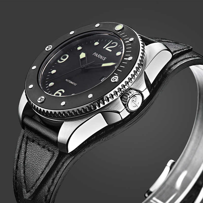 Parnis 43mm Men Watch Mechanical Casual Rotating Ceramic Bezel  Sport Diver Automatic Watch Miyota 8215 Movement Gift For Men