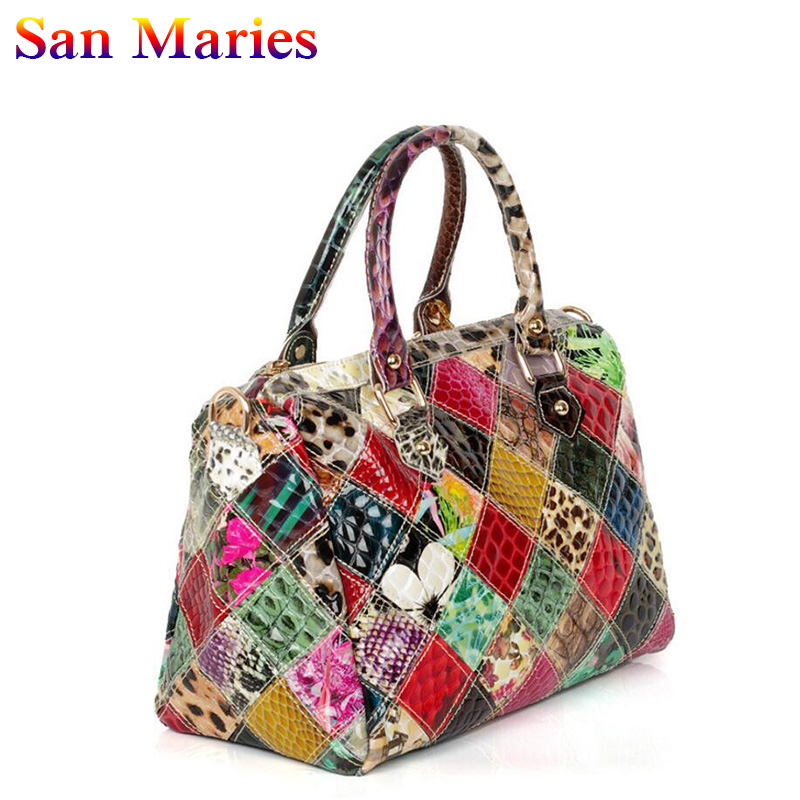 San Marie Women Fashion Snake Patent Leather Tote Bag Ladies Elegant Handbag Casual Shoulder Messenger Bags