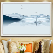 Abstract Chinese Paintings Big Size Minimalist Mountain River Bird Forest Landscape Painting Posters and Prints Picture Modular