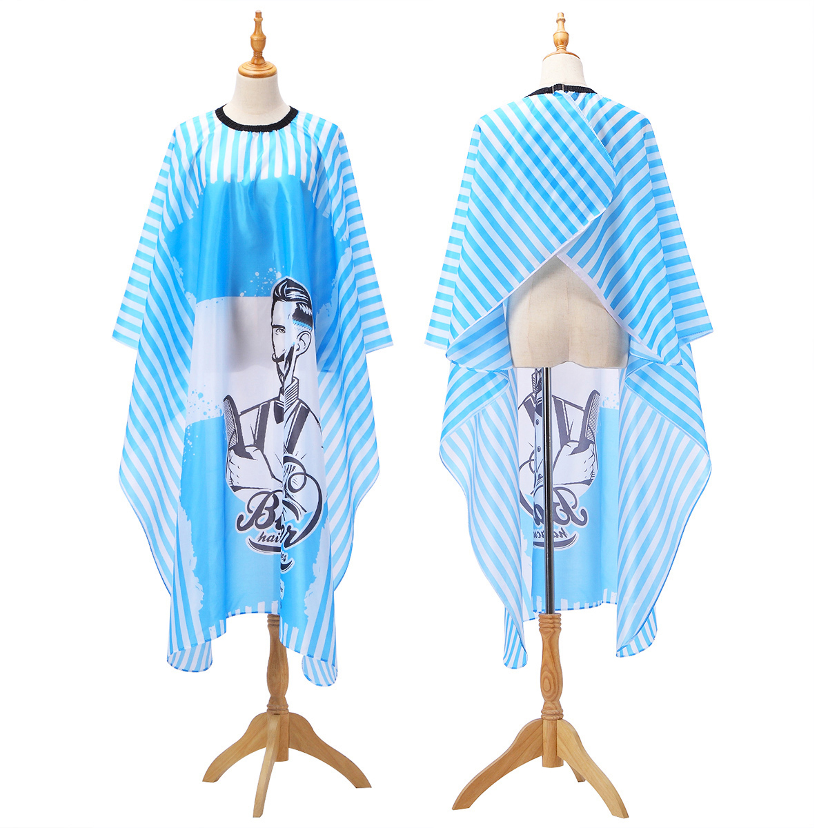 2019 Haircut Hairdressing Barber Cloth Blue Chambray Apron Polyester Hair Styling Design Supplies Breathable Salon Barber Gown