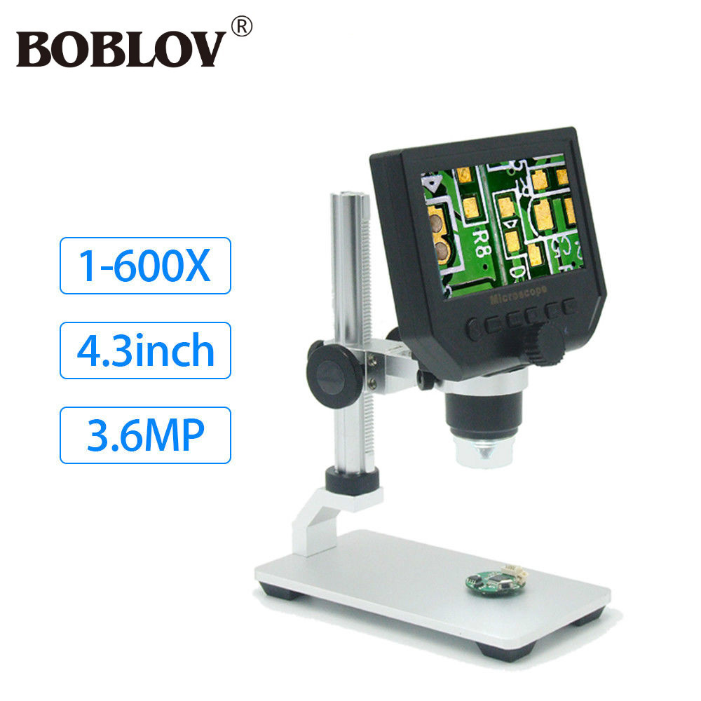 BOBLOV G600 Digital 4.3inch HD LCD Display Microscope 1-600X 3.6MP Continuous Magnifier Aluminum Alloy Stand Endoscope Portable 600x portable 4 3inch hd oled display lcd digital video microscope magnifying glass with 8 led light