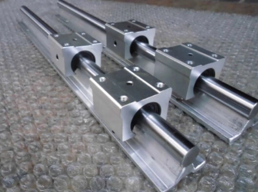 low price for China linear round guide rail guideway SBR20 rail 600mm take with 2 block slide bearings ball linear rail guide roller shaft guideway toothed belt driven