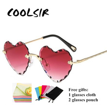 COOLSIR Sexy Red Love Heart Sunglasses Fashion Marine Female Rimless Metal Sun Glasses UV400