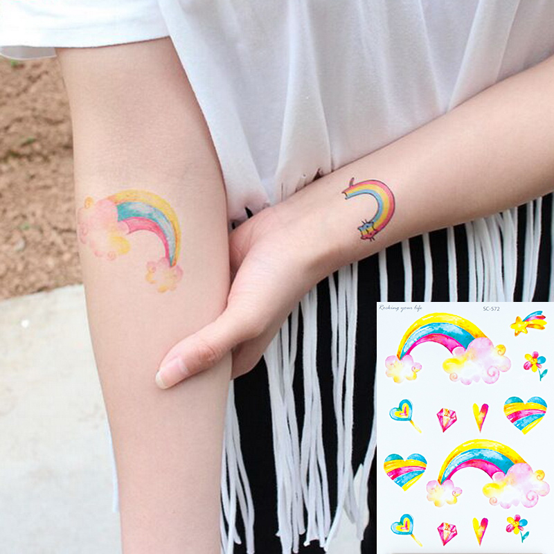 Waterproof Temporary Fake Tattoo Stickers Cute Flowers Rainbow Love Cartoon Design Make Up Tools Color Tattoos For Kid Children