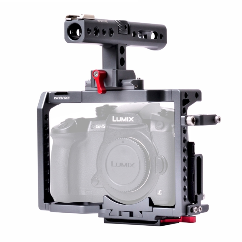 PULUZ WARAXE 2851 Camera Video Cage Stabilizer with Quick Release Top Handle for Panasonic Lumix GH4 / GH5 / GH5S