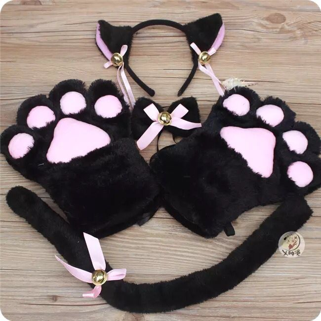 Anime Cosplay Costume Accessory Hairwear Hairbands With Cat Ears Neko Fantasy Set Maid Lolita Plush Glove Tail Paw Ear New
