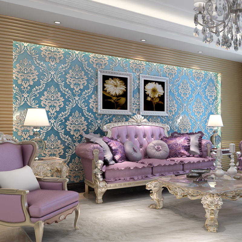 купить beibehang foaming classical damask wallpaper for walls 3 d diamond brightly finish wallpaper for wall 3d papel de parede roll по цене 2866.77 рублей