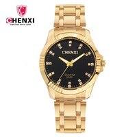 CHENXI Clock Gold Fashion Men Watch Full Gold Stainless Steel Quartz Watches Wrist Watch Wholesale Gold