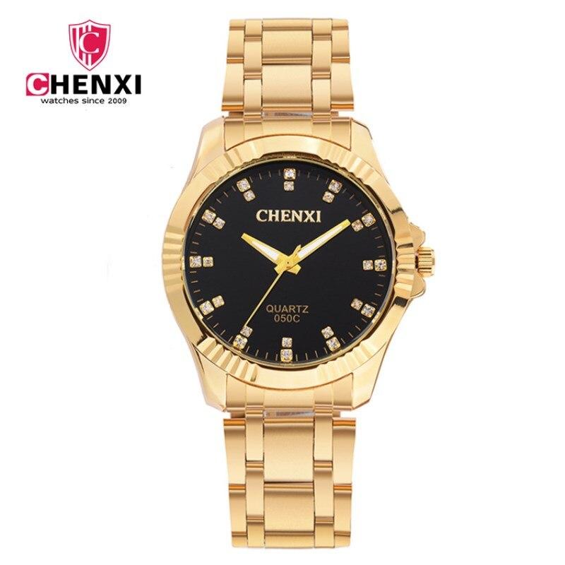 CHENXI على مدار الساعة الذهب أزياء الرجال ووتش الذهب الكامل الفولاذ المقاوم للصدأ الكوارتز ساعات المعصم ووتش الجملة الذهب ووتش الرجال PENGNATATE