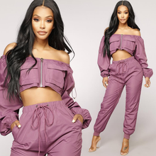 Autumn Women Two Piece Set Long Sleeve Crop Top Pullover Top and Jogging Pants Set Purple