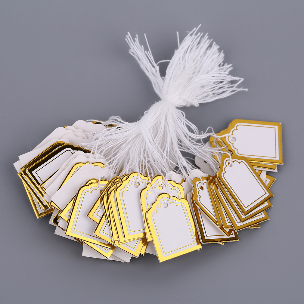 GENBOLI Square Shape 100 Pcs/Kit Price Tags With String Merchandise Cloth Label Jewelry Strung Pricing Store Accessories