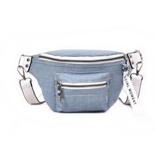 6a9147dba7e3a Denim Fanny Pack Waist Bag Women Messenger Bags Belt Crossbody Bag Canvas Waist  Packs Travel Bum