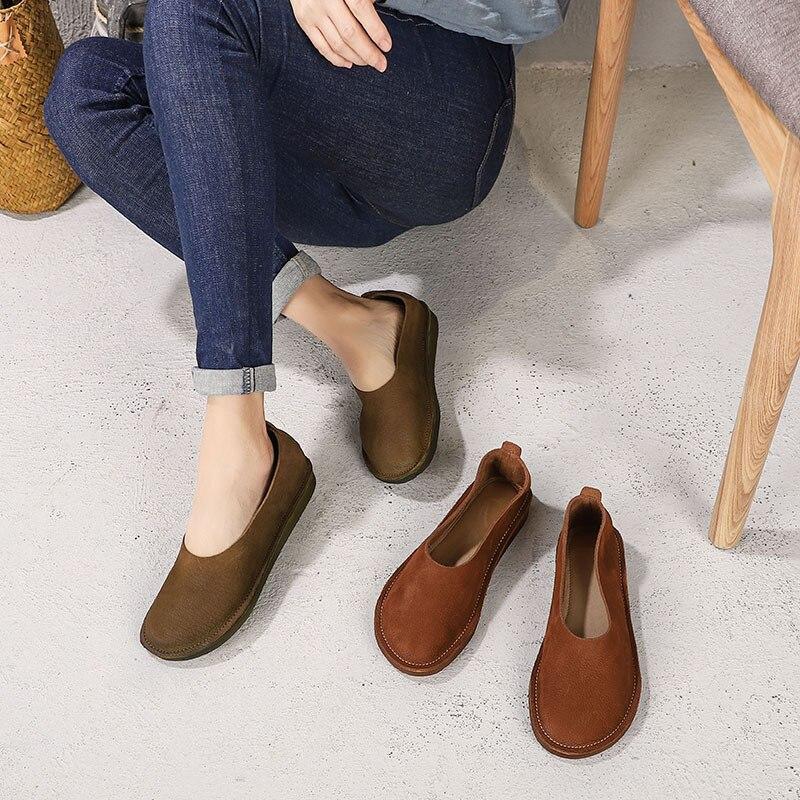 Khaki Chaussures D'été Brown Pour Doux Cuir Bout Plat Red Nouvelle OXP8nk0w