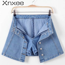 Women Summer Fashion Shorts Hole Jeans High Waist Denim Shorts 2018 Lay Blue Denim Shorts Casual Short Skirt Xnxee new hot flowers embroidery high waist shorts jeans short women hole denim solid blue casual summer vintage bottoms