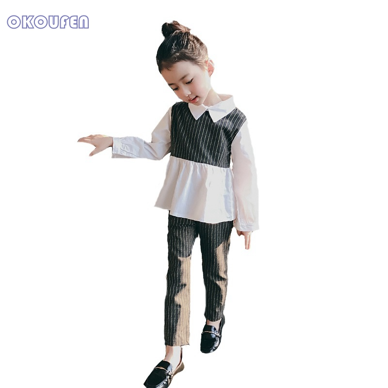 Kids Striped Clothing Sets For Girls Turn-Down Collar Blouses & Pants 2Pcs Spring Autumn Children Outfits Girl Tees Trousers kids clothes sets for girls turn down collar blouses