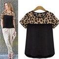 Gran tamaño de impresión de Leopardo mujeres de la camiseta 2016 verano marca camiseta camisa o cuello corto manga de la gasa de las mujeres t shirt tee tops camisa