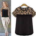 Large size Leopard printed t shirt women 2016 summer brand t shirt o neck short sleeve chiffon women's t shirt tops tee shirt