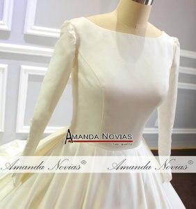 Image 3 - Vestido de novia sencillo de mangas largas de satén, nuevo Modelo 2020