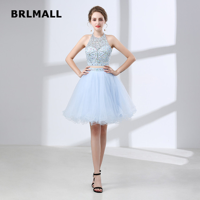 81dd90b0d1 2019 Crop Top Bridesmaid Dresses Custom Made Tulle Crystal Sequins Halter  Two Piece Knee Length Backless Bridesmaid Gowns