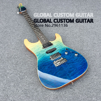 High Quality 6 Strings Guitars Ocean Gradient Color Big Flower Cover Stick A Face Electric Guitar