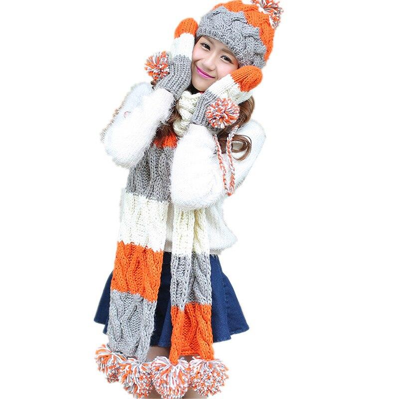 Charitable 2017 Woman Winter Thicken Hat Scarf Sets Cotton Fashion Women Hat Scarf Gloves Set Girls Warm Skullies Cap Accessories