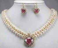 Hot sale Free Shipping>>New 2 row white pearl necklace + heart pink zircon pendant earring set