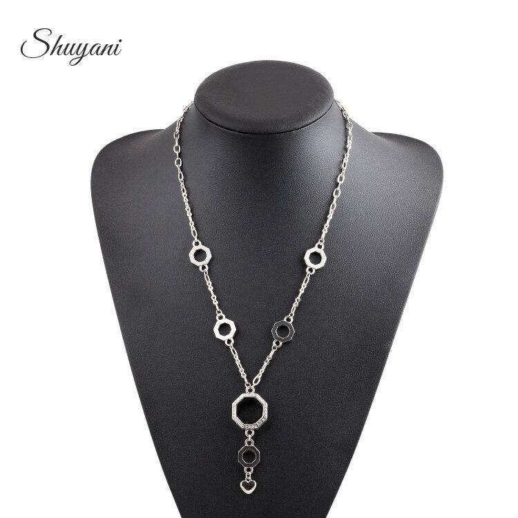 10pcs lot Newest Hexagon Shape Magnetic Glass Living Memory Locket Pendant Necklace Floating Locket Necklace