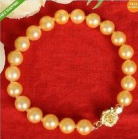 Wholesale price 16new ^^^^GENUINE AAA 10 11MM NATURAL GOLDEN SOUTH SEA CULTURED PEARL BRACELET 7.5 8''