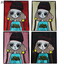 ZOTOONE Lovely Girl Stickers for Clothes Large Sequin Patches Sew on Embroidered Applique Cartoon Badge DIY Riverdale E
