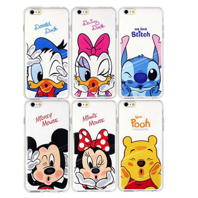 New Phone Case Mickey Minnie Stitch Donald Duck Winnie Pooh Transparent Soft Tpu Silicone For Apple Iphone X 5 5s 6 6s 7 8 Plus winnie the pooh iphone case
