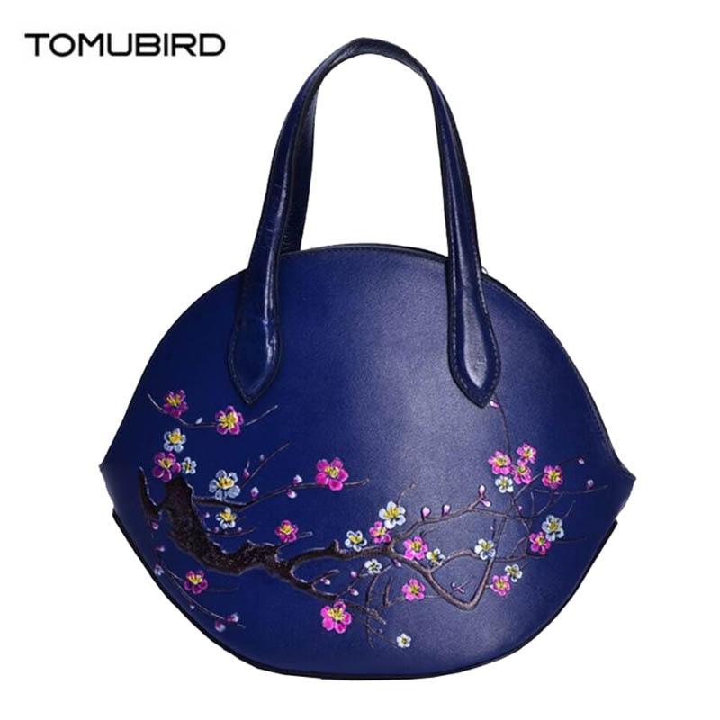 TOMUBIRD 2018 nuovo superiore Della Pelle Bovina delle donne del cuoio genuino borse del progettista del sacchetto di modo di lusso goffratura sacchetto di arte del fiore di cuoio