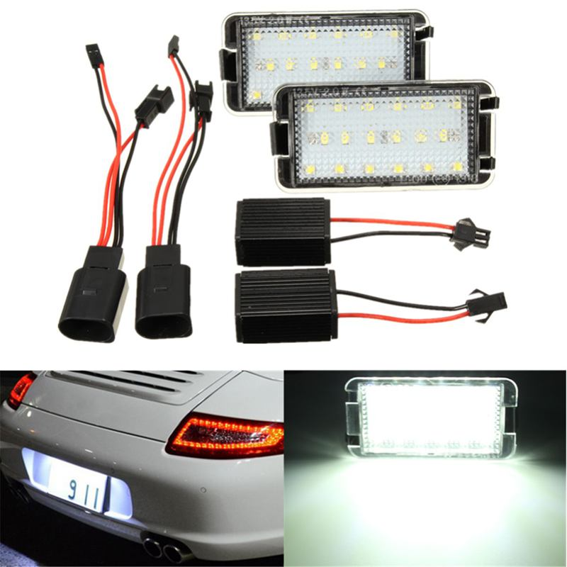 2Pcs LED Licence Plate Light Number Plate Lamp For Seat Altea Arosa Cordoba Ibiza Toledo 6000K White canbus 18 led license plate light car number plate lamp for seat altea arosa ibiza 97 08 cordoba 93 08 leon 99 05 toledo iii