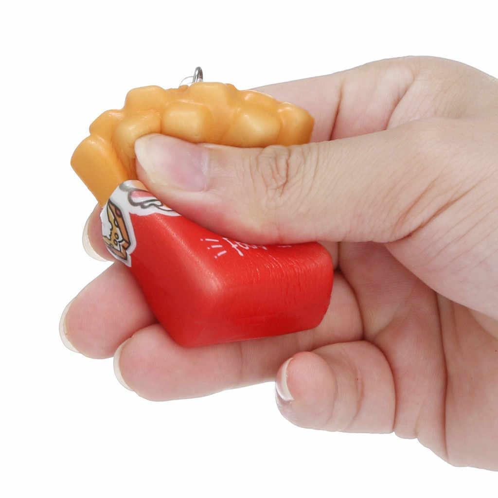 Presser les Squishies mous Kawaii dessin animé frites frites frites lente augmentation crème parfumée porte-clés jouets anti-Stress cadeau drôle Z0325